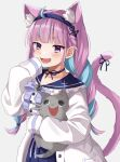 1girl animal_ear_fluff animal_ears blue_hair blush bow braid braided_ponytail cat cat_ears fang frilled_shirt_collar frills hairband hand_on_own_face highres holding hololive jacket minato_aqua moonbell multicolored_hair open_mouth purple_hair simple_background smile solo tail virtual_youtuber white_jacket