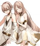 1girl adele_(fate) akira_hou armlet blush breasts closed_eyes commentary detached_sleeves dress fate/grand_order fate_(series) gold_choker green_eyes hair_between_eyes invisible_chair light_brown_hair long_hair looking_at_viewer makarios_(fate) open_mouth short_hair siblings signature simple_background sitting sleeveless sleeveless_dress small_breasts smile straight_hair sweatdrop toga twitter_username white_background white_dress
