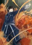 1boy absurdres azomo black_eyes black_hair black_pants blue_jacket closed_mouth feet_out_of_frame fire fullmetal_alchemist gloves hand_up highres jacket long_sleeves pants roy_mustang sanpaku short_hair solo standing waist_cape white_gloves