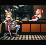 2girls animal_ears bird bunny_choker chef_hat closed_eyes club_hair_ornament desk diamond_hair_ornament earrings feather_earrings feathers fox_ears fox_girl gradient_hair hair_ornament hat highres hololive hololive_english jester_cap jewelry joker_(2019) laughing letterboxed looking_at_viewer manamachii multicolored_hair multiple_girls omaru_polka open_mouth orange_hair parody phoenix playing_card_theme rubber_chicken smile spade_(shape) spade_hair_ornament takanashi_kiara virtual_youtuber