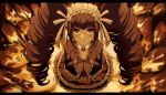 1girl bangs black_hair black_nails black_skirt blunt_bangs blush bonnet brown_hair brown_jacket brown_skirt celestia_ludenberck collared_shirt commentary criis-chan danganronpa danganronpa_1 drill_hair english_commentary eyebrows_visible_through_hair fire frilled_skirt frills from_above gothic_lolita hands_clasped jacket layered_skirt letterboxed lolita_fashion long_hair long_sleeves looking_at_viewer looking_up necktie own_hands_together red_eyes shirt skirt smile solo spoilers sweat twin_drills twintails twitter_username white_shirt