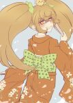 >_< 1girl bangs bird blonde_hair bow cowboy_shot criis-chan danganronpa evil_smile fan floral_print folding_fan from_behind green_bow grin hair_bow hair_ornament hand_up holding holding_fan japanese_clothes kimono large_bow long_hair looking_at_viewer looking_back obi orange_kimono print_kimono saionji_hiyoko sash shaded_face sleeves_past_wrists smile super_danganronpa_2 twintails