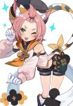 1girl ;d animal_ears bare_shoulders blush cat_ears cat_tail diona_(genshin_impact) fang genshin_impact gloves green_eyes hair_ornament highres long_sleeves looking_at_viewer midriff moutama navel one_eye_closed open_mouth paw_gloves paw_print paws pink_hair short_eyebrows short_hair shorts smile solo tail tied_hair