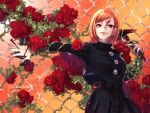 1girl aizawa_(nh_st) bangs belt black_jacket black_skirt brown_belt brown_eyes brown_hair buttons chain-link_fence cowboy_shot eyebrows_visible_through_hair fence flower hair_between_eyes hair_strand hammer hands_up holding holding_hammer jacket jujutsu_kaisen kugisaki_nobara long_sleeves looking_at_viewer nail open_mouth outdoors parted_bangs plant pleated_skirt rain rose school_uniform skirt smile solo straw_doll twitter_username vines weapon wet_face