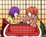 2girls apron bell cake checkered checkered_kimono checkered_shirt closed_eyes commentary feeding floral_print flower food fork frilled_skirt frills from_side hair_bell hair_flower hair_ornament hieda_no_akyuu highres holding holding_plate japanese_clothes kimono kotatsu long_sleeves motoori_kosuzu multiple_girls obi orange_hair plate purple_hair raythalosm sash shirt short_hair skirt smile table touhou twitter_username two_side_up waist_apron wide_sleeves yuri