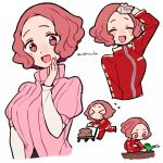 >_< 1girl :d blush brown_eyes brown_hair cart closed_eyes do_m_kaeru garden gardening gloves long_sleeves okumura_haru open_mouth persona persona_5 pink_sweater red_track_suit ribbed_sweater short_hair short_over_long_sleeves short_sleeves smile sweatdrop sweater track_suit watering_can wiping_forehead