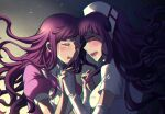 2girls apron bandages bangs blush breasts closed_eyes commentary criis-chan crying danganronpa dress dual_persona elbow_gloves floating_hair from_side gloves glowing glowing_eye holding_hands long_hair medium_breasts mole mole_under_eye multiple_girls nurse open_mouth puffy_short_sleeves puffy_sleeves purple_hair saliva shiny shiny_hair short_sleeves super_danganronpa_2 tsumiki_mikan upper_body upper_teeth wavy_hair white_apron white_dress white_gloves