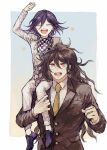 2boys :d absurdres black_footwear black_hair brown_hair brown_jacket carrying checkered checkered_neckwear checkered_scarf closed_eyes collared_shirt commentary_request danganronpa glasses gokuhara_gonta green_hair hair_between_eyes highres jacket long_hair long_sleeves looking_at_viewer male_focus multiple_boys necktie new_danganronpa_v3 open_mouth ouma_kokichi pants postal_mark_(tsu_qq) purple_hair red_eyes scarf school_uniform shirt shoes simple_background smile straitjacket teeth upper_body white_jacket white_pants yellow_neckwear