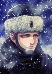 1boy blue_eyes expressionless eyebrows eyelashes fur_hat golden_kamuy grey_hair hat highres magu_gk male_focus outdoors portrait russian_clothes snowing solo ushanka vasily_(golden_kamuy) winter winter_clothes