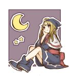 1girl blonde_hair blue_dress blue_eyes blue_footwear blue_headwear boots capelet closed_mouth crescent_moon crossed_ankles dress full_body hand_on_own_face hat long_hair long_sleeves looking_up madou_monogatari moon nishikuromori pink_ribbon puyopuyo ribbon sash sitting smile solo star_(symbol) straight_hair white_capelet wide_sleeves witch_(puyopuyo)