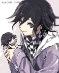 1boy bangs black_hair character_doll character_name checkered checkered_neckwear checkered_scarf danganronpa hair_between_eyes holding hood hood_down hoodie iko_831 jacket long_sleeves male_focus new_danganronpa_v3 ouma_kokichi scarf simple_background smile solo twitter_username two-tone_background upper_body violet_eyes