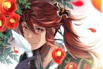 1boy feathers fire_emblem fire_emblem_fates fire_emblem_heroes flower higasarosso holding leaf long_hair looking_at_viewer male_focus petals red_eyes redhead smile solo subaki_(fire_emblem) upper_body white_background