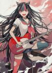 1girl absurdres bangs black_hair black_nails blue_hair blue_legwear commentary_request danganronpa desk ear_piercing electric_guitar guitar highres holding holding_instrument instrument jewelry leg_up lip_piercing long_hair looking_at_viewer mioda_ibuki mismatched_legwear multicolored_hair music neckerchief necklace open_mouth piercing pink_eyes pink_hair pink_legwear playing_instrument pleated_skirt postal_mark_(tsu_qq) school_desk school_uniform serafuku short_sleeves skirt smile solo super_danganronpa_2 teeth thigh-highs torn_clothes torn_legwear very_long_hair white_hair