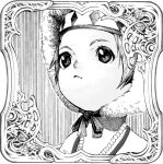 1girl :< border child closed_mouth cluseller commentary english_commentary face frame fur_hat greyscale hat headband jewelry mixed-language_commentary monochrome necklace original pearl_necklace short_hair sidelocks solo striped striped_background traditional_media upper_body