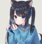 1girl :o animal_ear_fluff animal_ears anz32 bangs black_hair blue_eyes blue_flower blue_ribbon blue_shirt commentary_request cup dog_ears dog_girl dog_tail eyebrows_visible_through_hair flower grey_background hair_between_eyes hair_flower hair_ornament hair_ribbon hairclip holding holding_cup long_hair long_sleeves looking_at_viewer mug original parted_lips ribbon shirt simple_background sleeves_past_wrists solo tail tail_raised twintails upper_body
