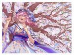 1girl :d blue_kimono breasts cherry_blossoms cowboy_shot day floral_print from_below hat japanese_clothes kimono looking_ahead medium_breasts medium_hair mob_cap open_mouth outdoors pink_eyes pink_hair saigyouji_yuyuko smile solo teruteru_(teru_teru) touhou tree wide_sleeves