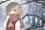 1girl bangs blonde_hair blurry blurry_background blush commentary_request depth_of_field eyebrows_visible_through_hair flandre_scarlet hair_between_eyes hand_up haruki_(colorful_macaron) long_sleeves looking_at_viewer no_hat no_headwear one_side_up outdoors red_eyes red_vest scarf scarf_over_mouth side_ponytail snow snowing solo touhou tree upper_body vest wings winter yellow_neckwear
