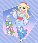 1girl :3 :d bangs blonde_hair blue_background blue_kimono blush bow commentary_request diagonal_stripes eyebrows_visible_through_hair floating_hair hair_bow hair_ornament happy highres himesaka_noa holding japanese_clothes kimono leaf long_hair long_sleeves looking_at_viewer obi open_mouth pink_sash print_kimono r245 red_bow sash signature smile solo standing standing_on_one_leg striped striped_background thick_eyebrows twitter_username watashi_ni_tenshi_ga_maiorita! wide_sleeves wind_chime yellow_bow zouri
