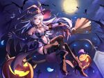 1girl absurdres backlighting bat black_legwear boots breasts broom broom_riding demon_girl demon_tail demon_wings elbow_gloves fingerless_gloves fingernails full_moon gloves graveyard halloween hat heterochromia high_heel_boots high_heels highres jack-o'-lantern kaer_sasi_dianxia large_breasts looking_at_viewer moon navel night original pantyhose pointy_ears pubic_tattoo red_eyes smile solo succubus tail tattoo thigh-highs thighs violet_eyes wings witch_hat