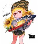 1girl :3 anchor_symbol bangs beanie black_shorts blonde_hair blunt_bangs brown_headwear closed_mouth commentary domino_mask english_text flower grey_shirt hat holding holding_weapon inkling inkling_(language) kyuurisoda logo long_sleeves looking_at_viewer mask medium_hair pointy_ears red_eyes shirt short_shorts shorts simple_background sleeves_past_wrists smirk solo splatoon_(series) splatoon_2 splattershot_pro_(splatoon) standing sunflower symbol_commentary tentacle_hair twitter_username weapon white_background