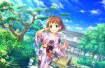 blue_eyes blush brown_hair idolmaster_cinderella_girls_starlight_stage kudou_shinobu short_hair smile yukata