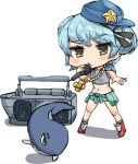 1girl absurdres blue_hair boombox breakdance chibi double_bun full_body hat highres hooded_top kantai_collection little_blue_whale_(kantai_collection) microphone music osananajimi_neko samuel_b._roberts_(kantai_collection) short_hair singing white_background yellow_eyes