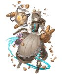 1girl ankle_boots antique_firearm apron aqua_eyes basket birdcage boots bread brown_dress brown_hair cage crumbs dress eyebrows_visible_through_hair firearm firelock flat_chest flintlock food frown full_body gretel_(sinoalice) gun hand_on_hip handgun hansel_(sinoalice) hood hood_down ji_no official_art robot short_hair sinoalice solo transparent_background weapon