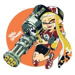1girl anchor_symbol bandage_on_face bandages bandaid bandaid_on_knee bangs baseball_cap bike_shorts black_headwear black_legwear black_shorts blonde_hair blunt_bangs clothes_writing commentary domino_mask english_text hat hero_splatling_(splatoon) highres holding holding_weapon inkling inkling_(language) katsu_noha long_hair long_sleeves looking_at_viewer mask one_eye_closed open_mouth pointy_ears red_eyes red_footwear red_shirt shirt shoes short_over_long_sleeves short_sleeves shorts single_vertical_stripe smile sneakers socks solo splatoon_(series) splatoon_2 standing t-shirt tentacle_hair weapon