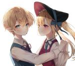 1boy 1girl bangs blonde_hair blue_eyes blue_ribbon blush bonnet check_copyright closed_mouth collared_shirt commentary_request copyright_request dress earrings fang from_side hat heart heart_in_eye highres holding_hands interlocked_fingers jewelry knowa long_hair long_sleeves looking_at_another looking_at_viewer looking_to_the_side neck_ribbon original pinafore_dress pointy_ears red_dress red_eyes red_ribbon ribbon shirt short_hair simple_background smile symbol_in_eye upper_body white_background white_shirt