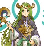 1girl aqua_eyes bangs circlet cloak closed_mouth eyebrows_visible_through_hair facing_viewer frown goddess green_hair holding holding_staff jewelry kid_icarus long_hair long_sleeves necklace nishikuromori palutena parted_bangs purple_cloak simple_background solo staff straight_hair very_long_hair white_background wide_sleeves