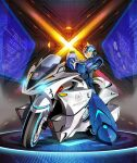 1boy android arm_cannon armor bicycle blue_eyes forehead_jewel gloves green_eyes ground_vehicle helmet joints male_focus mizuno_keisuke motor_vehicle motorcycle neon_lights neon_trim official_alternate_costume official_art redesign robot robot_joints rockman rockman_x smile solo third-party_source weapon x_(rockman)