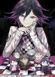 absurdres akamatsu_kaede bangs black_hair character_doll checkered checkered_scarf cheek_rest chessboard commentary_request danganronpa gokuhara_gonta hair_between_eyes half-closed_eyes highres iruma_miu jacket keebo long_arms long_sleeves looking_at_viewer male_focus momota_kaito new_danganronpa_v3 ouma_kokichi pink_blood postal_mark_(tsu_qq) purple_hair saihara_shuuichi scarf sitting smile solo straitjacket toujou_kirumi white_jacket