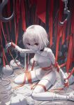 1girl absurdres choker crying crying_with_eyes_open damaged doll doll_joints expressionless eyebrows_visible_through_hair highres hook huge_filesize joints looking_at_viewer myung original parted_lips red_eyes ribbon scissors shirt short_hair sitting sitting_on_floor solo tears wariza white_hair white_shirt white_skin