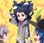 3girls ahoge alternate_hair_length alternate_hairstyle arm_behind_head arm_up black_hair black_headwear blue_bow blue_eyes blue_hair bow drawstring eyebrows_visible_through_hair floating_hair grey_hair grey_hoodie hair_bow hinanawi_tenshi holding holding_scissors hood hoodie leaf multiple_girls nervous open_mouth red_eyes scissors shope short_hair short_sleeves sukuna_shinmyoumaru sweatdrop touhou wavy_mouth yellow_background yorigami_shion