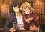 1boy 1girl :d ahoge alcohol bangs black_shirt blush brown_hair buttons chair coaster collared_shirt commentary_request cup drink drinking_glass drunk eyebrows_visible_through_hair highres hikigaya_hachiman holding holding_cup hotaru_iori ice ice_cube indoors isshiki_iroha leaning_on_person light_brown_hair long_hair long_sleeves looking_at_another on_chair open_mouth overalls pink_overalls red_shirt shirt short_hair side-by-side sitting smile strap_slip striped striped_shirt sweatdrop vertical-striped_shirt vertical_stripes white_shirt yahari_ore_no_seishun_lovecome_wa_machigatteiru.