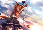 1girl arm_above_head armpits arms_up bangs belt blurry bokeh bow closed_eyes closed_mouth clouds commentary_request cowboy_shot cuffs depth_of_field dutch_angle eyebrows_behind_hair flat_chest gradient_sky hair_between_eyes hair_bow highres horn_ornament horn_ribbon horns ibuki_suika long_hair oni_horns orange_hair purple_skirt red_bow red_neckwear red_ribbon ribbon shackles shiranui_(wasuresateraito) shirt skirt sky sleeveless sleeveless_shirt smile solo standing stretch swept_bangs torn_clothes touhou very_long_hair wrist_cuffs