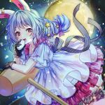1girl :d animal_ears arm_rest bangs black_gloves bloomers blue_dress blue_hair blurry blush bokeh bun_(food) collarbone commentary_request crescent_print depth_of_field dress eyebrows_visible_through_hair feet_out_of_frame full_moon gloves hair_ribbon here_(hr_rz_ggg) highres kine layered_dress long_hair looking_at_viewer mallet moon open_mouth purple_ribbon rabbit_ears red_eyes ribbon seiran_(touhou) smile solo sparkle star_(symbol) star_print striped striped_ribbon touhou underwear upper_teeth wide_sleeves