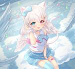 1girl :d absurdres animal_ear_fluff animal_ears bangs bare_shoulders between_legs blue_bow blue_choker blue_eyes blue_legwear blue_skirt blush bow breasts cat_ears cat_girl cat_tail choker collared_shirt commentary_request copyright_request eyebrows_visible_through_hair fang feathered_wings from_above gloves hair_between_eyes hair_ornament hairclip half_gloves hand_between_legs hand_up heterochromia highres long_hair looking_at_viewer looking_up low_twintails mini_wings open_mouth pleated_skirt red_eyes shirt single_glove single_thighhigh sitting skirt sleeveless sleeveless_shirt small_breasts smile solo tail thigh-highs tsukiman twintails virtual_youtuber white_gloves white_hair white_shirt white_wings wings wrist_cuffs x_hair_ornament