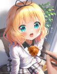 1girl aqua_eyes bangs black_ribbon black_shirt blonde_hair blunt_bangs blush chopsticks collared_shirt couch eyebrows_visible_through_hair feeding fried_chicken gochuumon_wa_usagi_desu_ka? hair_ribbon holding holding_chopsticks kirima_sharo mozukun43 open_mouth plaid plaid_skirt plant ribbon school_uniform shirt short_hair sitting skirt solo tedeza_rize's_school_uniform twitter_username upper_teeth wavy_hair