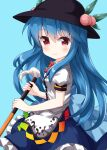 1girl bangs black_headwear blue_background blue_hair blue_skirt bow bowtie buttons closed_mouth eyebrows_visible_through_hair food fruit highres hinanawi_tenshi holding holding_sword holding_weapon leaf long_hair looking_at_viewer peach puffy_short_sleeves puffy_sleeves rainbow_gradient rainbow_order red_bow red_eyes red_neckwear ruu_(tksymkw) shirt short_sleeves simple_background skirt smile solo standing sword sword_of_hisou touhou weapon white_shirt