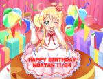 1girl :d ;d alternate_costume apron balloon birthday blonde_hair blush bow bowtie box commentary_request crown curtains dated dress elbow_gloves english_text eyebrows_visible_through_hair food fork frilled_apron frilled_dress frills gift gloves hair_bow hands_up happy_birthday himesaka_noa holding holding_fork long_hair looking_at_viewer mini_crown mitsukiro one_eye_closed open_mouth pink_curtains pink_dress red_bow red_headwear short_sleeves smile solo standing string_of_flags thick_eyebrows watashi_ni_tenshi_ga_maiorita! white_apron white_gloves