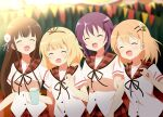 4girls :d ^_^ bangs bendy_straw black_ribbon blonde_hair blurry blurry_background blush breasts brown_hair brown_sailor_collar closed_eyes commentary_request cup depth_of_field derivative_work disposable_cup drinking_straw eyebrows_visible_through_hair flower gochuumon_wa_usagi_desu_ka? hair_between_eyes hair_flower hair_ornament hairclip holding holding_cup hoto_cocoa hoto_cocoa's_school_uniform kirima_sharo long_hair matching_outfit multiple_girls neck_ribbon open_mouth plaid plaid_sailor_collar plaid_skirt purple_hair red_skirt ribbon sailor_collar school_uniform shirt short_sleeves skirt small_breasts smile tedeza_rize twintails ujimatsu_chiya very_long_hair white_flower white_shirt yutsuki_warabi