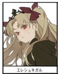 1girl bangs blonde_hair blush bow character_name close-up closed_mouth collar ear_piercing earrings ereshkigal_(fate/grand_order) fate/grand_order fate_(series) frame hair_bow hair_ornament jewelry long_hair looking_at_viewer parted_bangs piercing red_bow red_eyes simple_background solo sweat tiara upper_body white_background zhibuji_loom