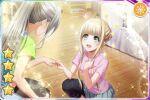 blonde_hair blush d4dj dress fukushima_noa green_eyes short_hair
