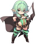 1girl bangs black_bow black_gloves boots bow bow_(weapon) chibi closed_mouth commentary_request elf flat_chest full_body gloves goblin_slayer! green_eyes green_hair groin hair_bow hand_on_hip high_elf_archer_(goblin_slayer!) highres holding holding_weapon karukan_(monjya) long_hair looking_at_viewer pointy_ears short_shorts shorts sidelocks simple_background smile solo standing thigh-highs thigh_boots weapon white_background
