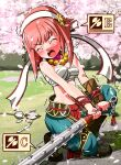 1girl alternate_costume bare_shoulders blush breasts cherry_blossoms closed_eyes club fire_emblem fire_emblem_fates fire_emblem_heroes grass highres holding holding_weapon misterror open_mouth outdoors petals sakura_(fire_emblem) small_breasts solo weapon
