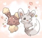 >_< :3 ;d blush_stickers buneary closed_mouth commentary_request facing_viewer flying_sweatdrops gen_4_pokemon gen_5_pokemon heart jumping konanbo leg_up looking_at_viewer minccino no_humans one_eye_closed open_mouth pokemon pokemon_(creature) side-by-side smile star_(symbol)