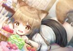 +_+ 1girl animal_ear_fluff animal_ears ass bangs blurry blurry_background blush brown_eyes brown_hair cake drooling food fruit long_hair lying on_stomach open_mouth original psyche3313 skirt skirt_lift solo_focus strawberry symbol-shaped_pupils tail