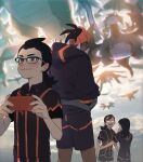 1girl 3boys black_hair black_hoodie blurry blush brown_hair closed_mouth collared_shirt commentary_request dark_skin dark_skinned_male dragonite flygon gen_1_pokemon gen_3_pokemon gen_4_pokemon gen_5_pokemon glasses gym_leader gym_trainer_(pokemon) hand_on_another's_waist holding hood hoodie hydreigon korean_commentary mikripkm multiple_boys orange_headwear pokemon pokemon_(creature) pokemon_(game) pokemon_swsh raihan_(pokemon) rotom rotom_phone salamence shirt shorts side_slit side_slit_shorts