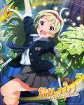blue_eyes blush character_name cheerleader green_hair idolmaster_million_live!_theater_days long_hair shimabara_elena smile